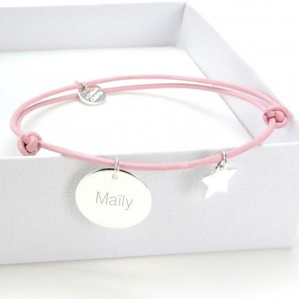 Bracelet Cuir et Argent pour Maman - ROSE