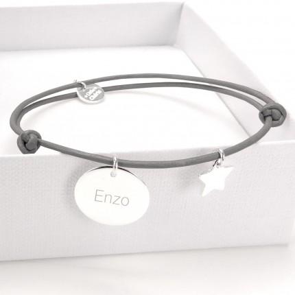 Bracelet Cuir et Argent - GRIS
