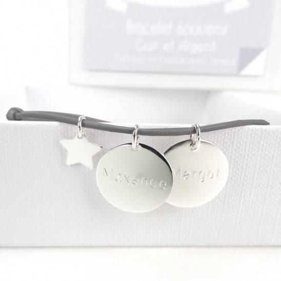 Bracelet naissance avec 2 médailles (en option)