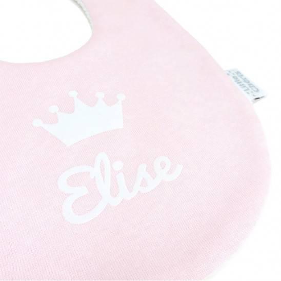 Bavoir rond bébé personnalisé prénom image - ROSE