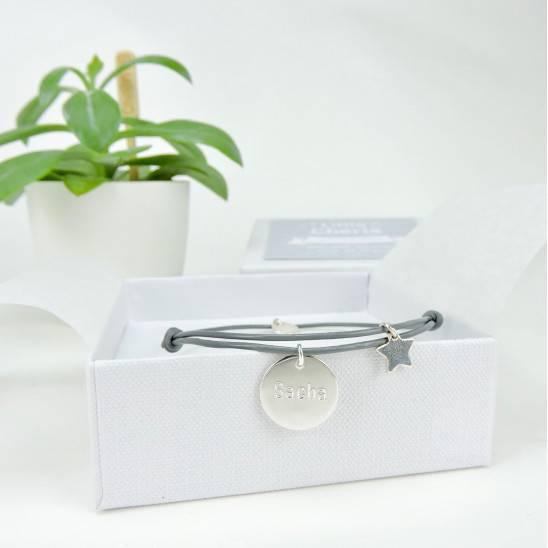 Bracelet Cuir et Argent pour Maman - GRIS
