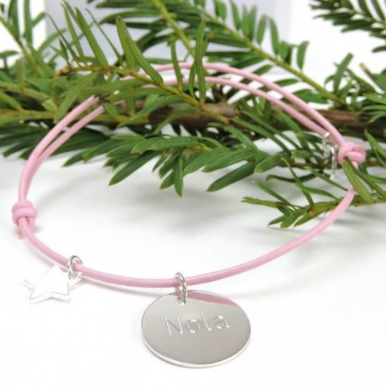 Bracelet naissance cuir et argent